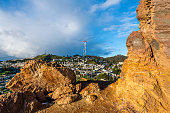Panoramic view of San Francisco and Mount Sutro from the summit of Corona Heights Park in San Francisco, California.