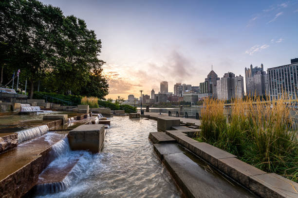 Early morning from the Allegheny Landing Early morning fog over Pittsburgh from the Allegheny Landing monongahela river stock pictures, royalty-free photos & images
