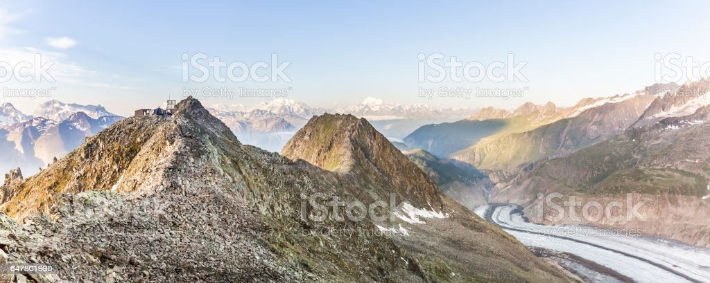 Early morning Glacier Aletsch, Switzerland stock photo