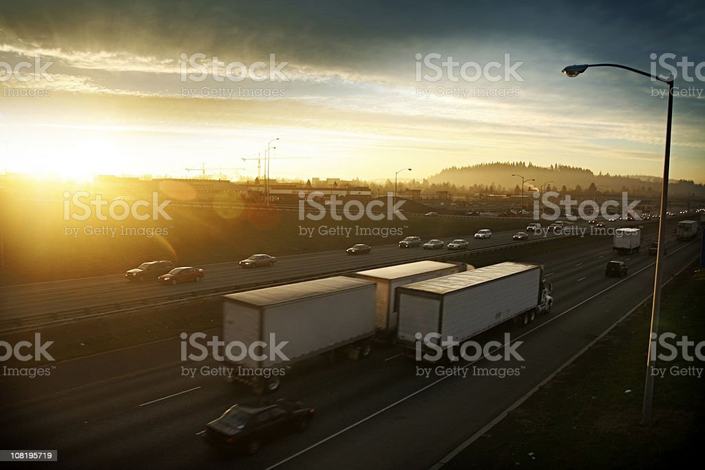 Early Morning Highway Traffic stock photo
