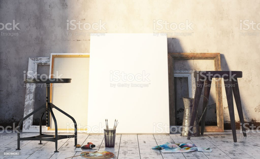 Early morning in artist's studio, mock up interior stock photo