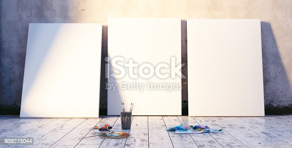 936286060 istock photo Early morning in artist's studio, mock up interior 939273044