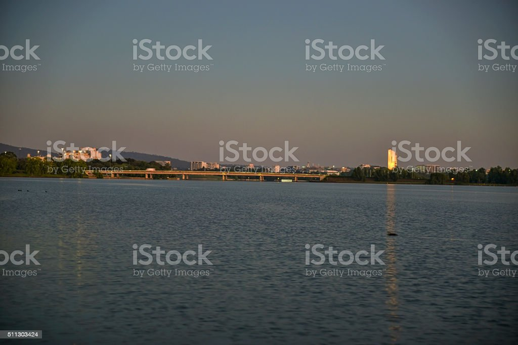 Early morning in Canberra, Bridge and Carillon stock photo