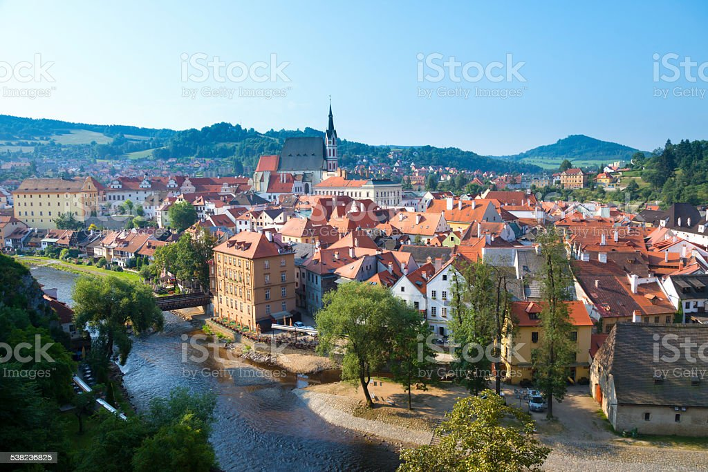 Early morning in Cesky Krumlov stock photo