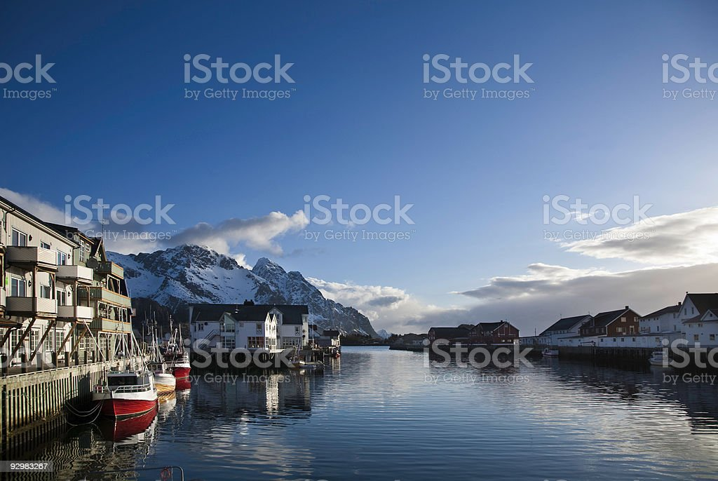 Early morning in henningsvaer royalty-free stock photo