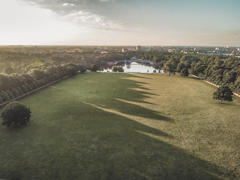 Early morning in Stadtpark Hamburg with an arial view to Stadtpark See