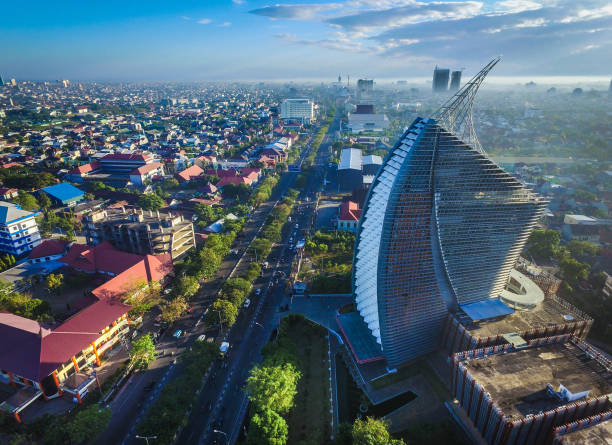 Early Morning in the City of Makassar The business district area of Makassar City - South Sulawesi - Indonesia sulawesi stock pictures, royalty-free photos & images