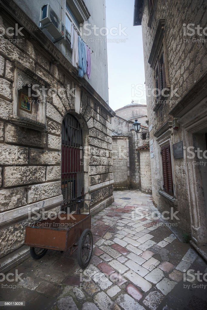 Early Morning in the Historic Streets Kotor Montenegro stock photo