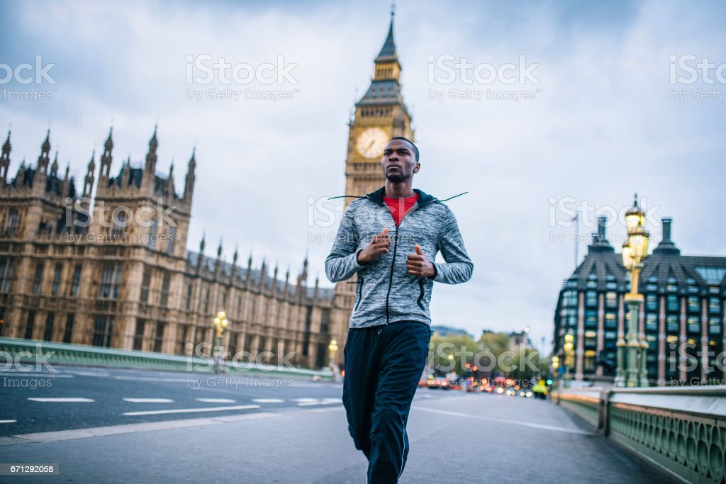 Early morning is best for running stock photo