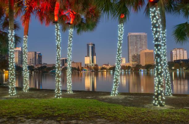 Early Morning Lake Eola Park During the Christmas Holiday Season in Downtown Orlando Florida USA stock photo
