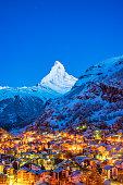 Early Morning landscape View on Zermatt city village  Valley and Matterhorn Peak in the Morning, Switzerland