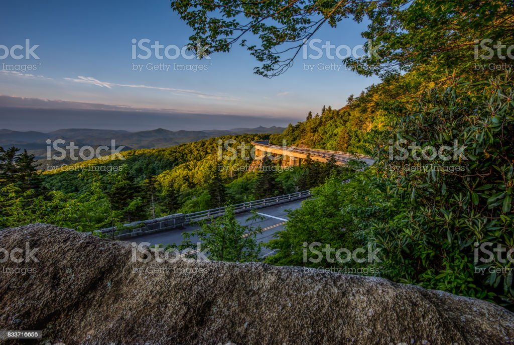 Early Morning Light On Linn Cove Viaduct stock photo