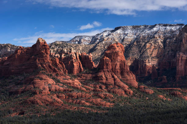 Early Morning light on Red Rock Formation in the Coconino National Forest, Arizona. stock photo