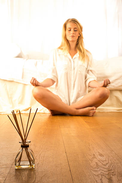 Am frühen Morgen meditation – Foto