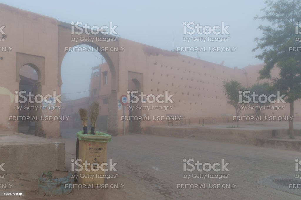 Early morning mist at the Bab Aylan gateway entrance to the Medina in Marrakesh stock photo