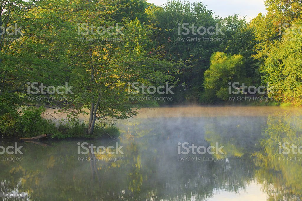 Early morning mist raising from a lake royalty-free stock photo