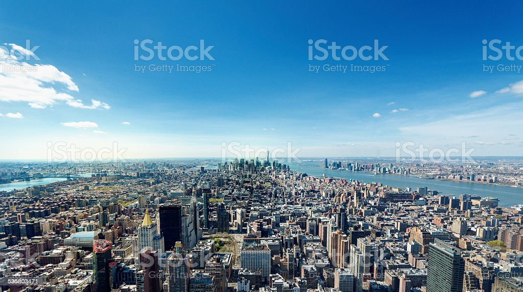 early morning New York skyline stock photo
