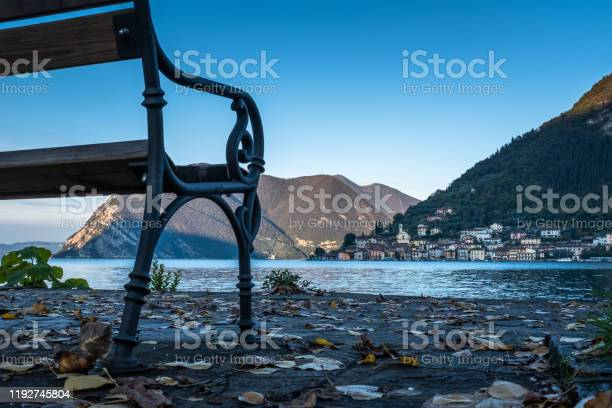 Photo of Early morning on the Lake Iseo. View from below of Monte Isola at sunrise (Lombardy, Italy).