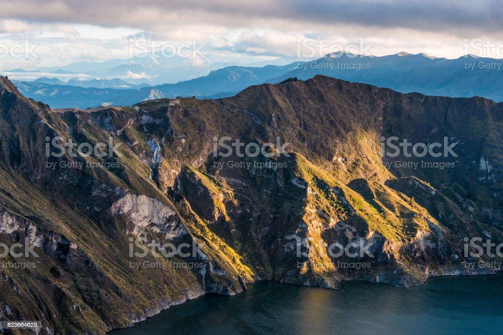 Early morning on the Quilotoa volcano caldera and lake, Andes. Ilinizas Nature Reserve, Ecuador stock photo