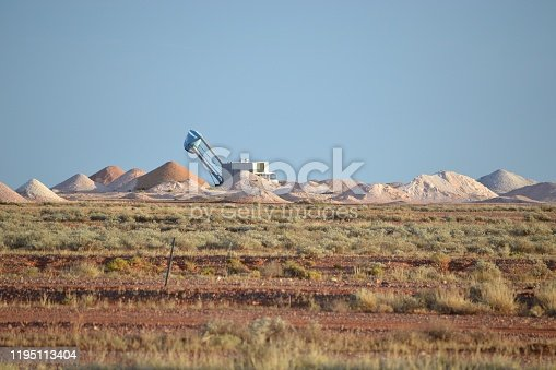 Mining equipment and mounds of talings in desert