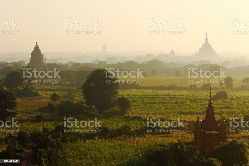 early morning over the Bagan temples royalty-free stock photo