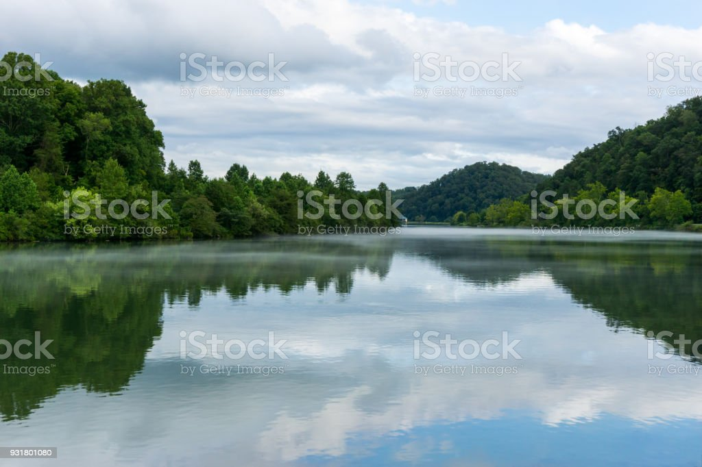Early Morning overlooking a beautiful river - Tennessee stock photo
