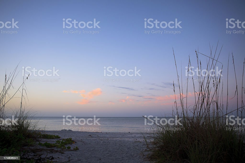 Early morning peak onto the ocean royalty-free stock photo