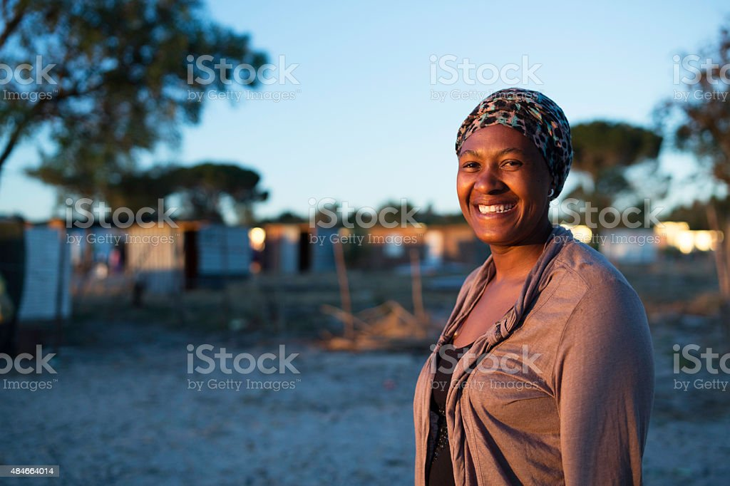 Early morning portrait of an African woman smiling stock photo