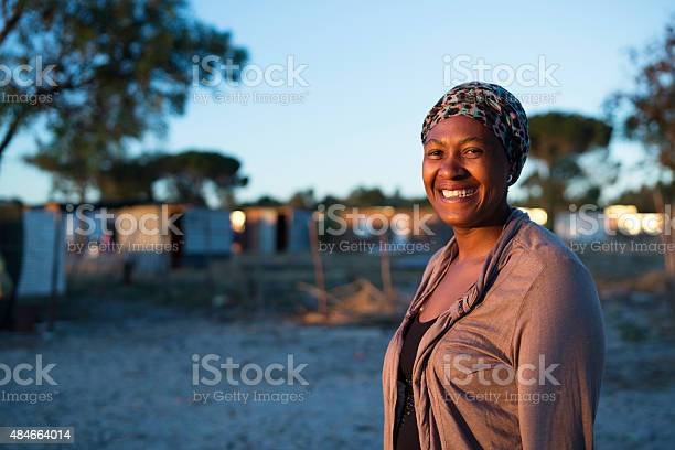 Early morning portrait of an African woman smiling