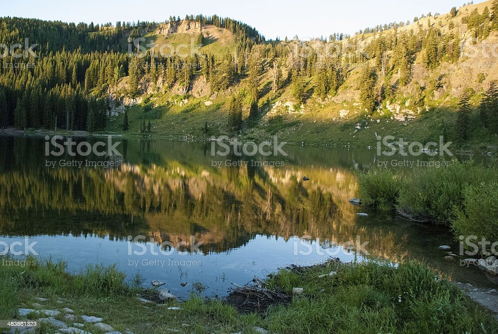 Early Morning Reflection Tony Grove Lake Logan Canyon Utah stock photo