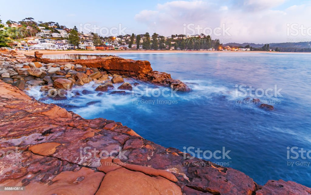 Early Morning Rocky Seascape stock photo