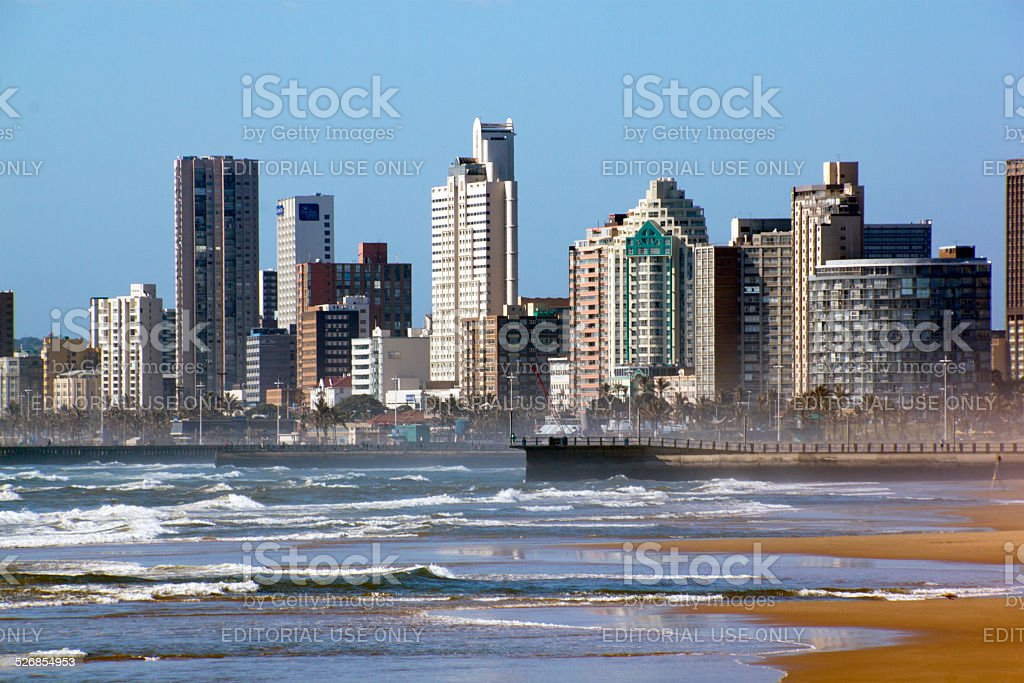 Early Morning Rough Sea with Hotels on Durban's Golden Mile stock photo