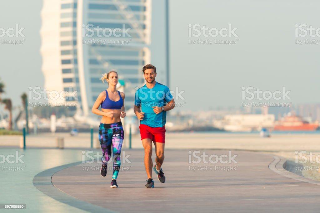 Early morning run in Dubai stock photo