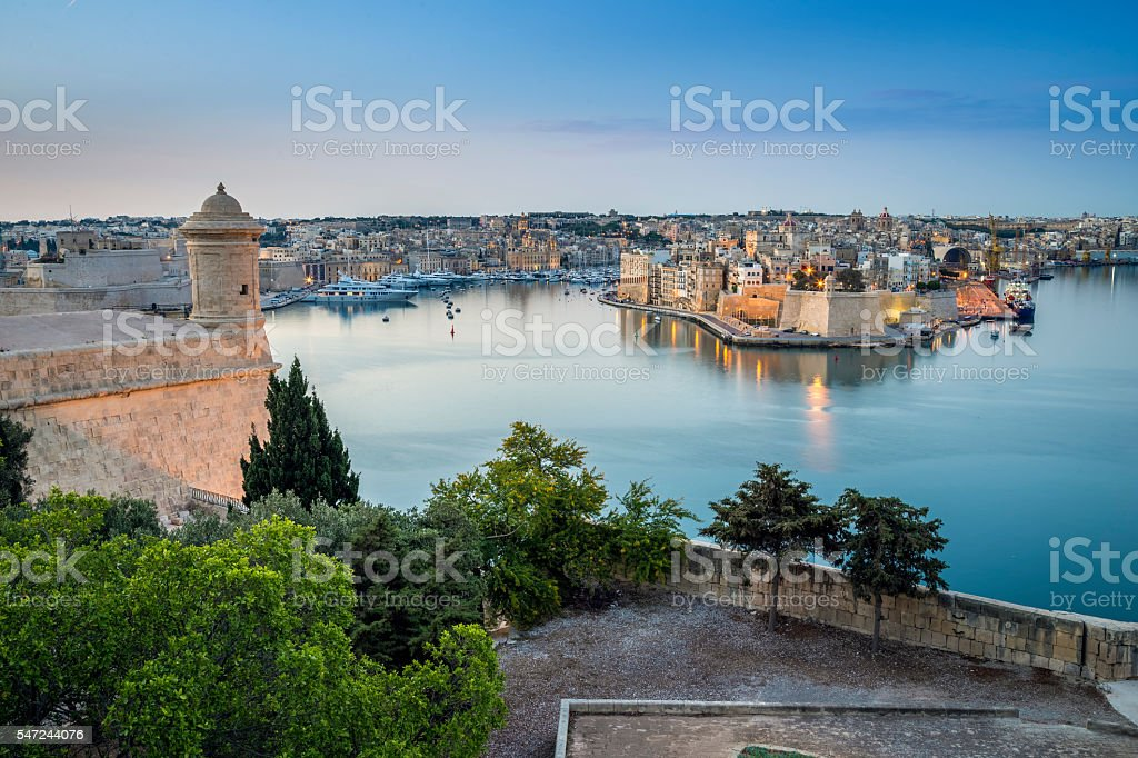 Early morning skyline view of the Grand Harbour of Malta stock photo