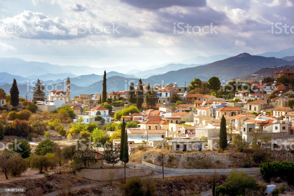 Early morning sunlight above Kato Drys village. Larnaca District, Cyprus stock photo