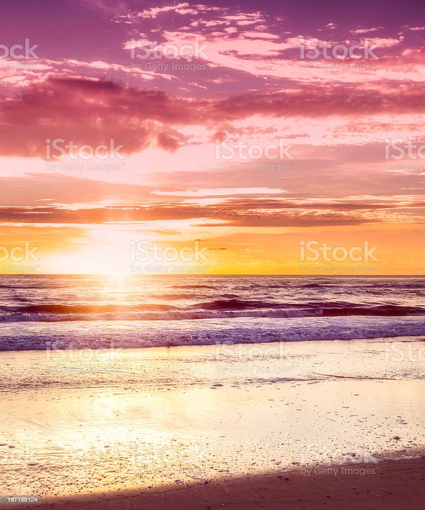 Early Morning Sunrise and Surf stock photo