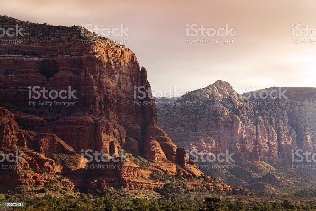 Early Morning Sunrise Illuminates Sedona's Amazing Red Rock Formations royalty-free stock photo