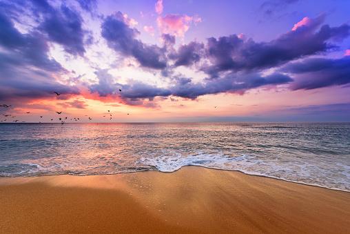 Early morning , sunrise over sea. Golden sands.