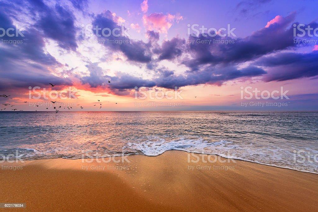 Early morning , sunrise over sea. Golden sands. stock photo