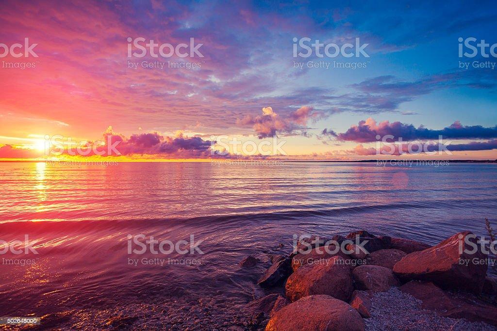 Early morning , sunrise over sea - Royaltyfri 2015 Bildbanksbilder