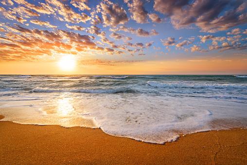 Early morning , sunrise over sea.