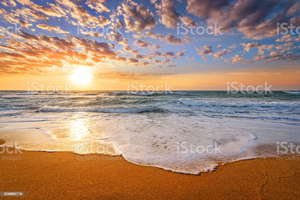 Early morning , sunrise over sea. stock photo