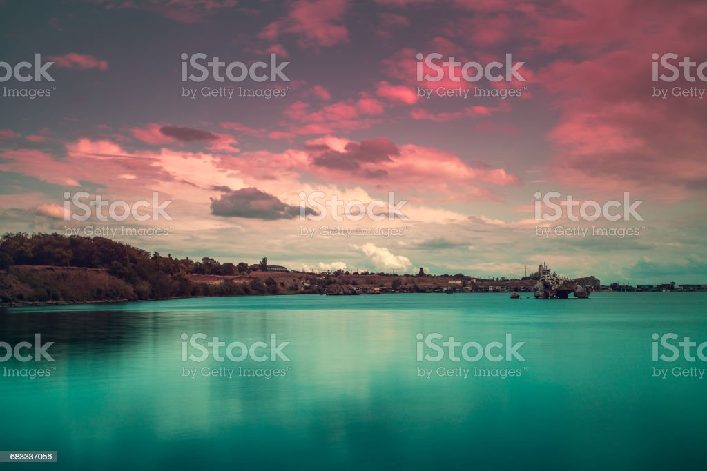 Early morning, sunrise over the sea royalty-free stock photo