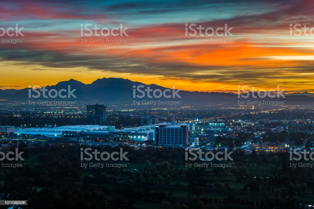 Early morning sunrise over valley of fire and las vegas stock photo