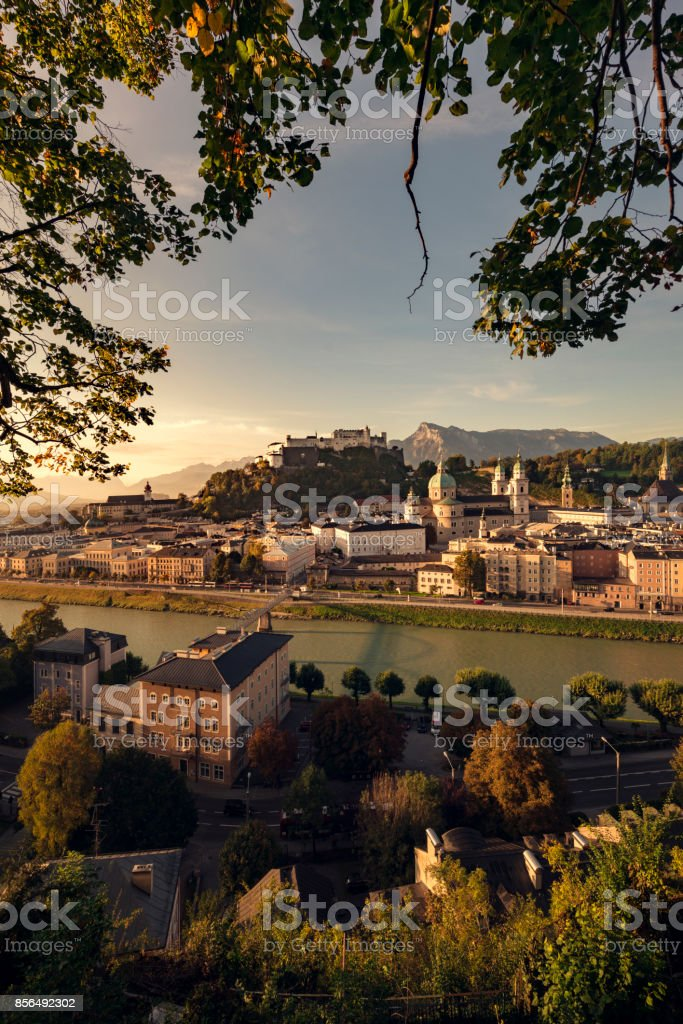 early morning sunsrise in salzburg stock photo