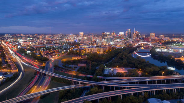 Early Morning Traffic Creates Light Streak in Long Exposure in Nashville Tennessee stock photo