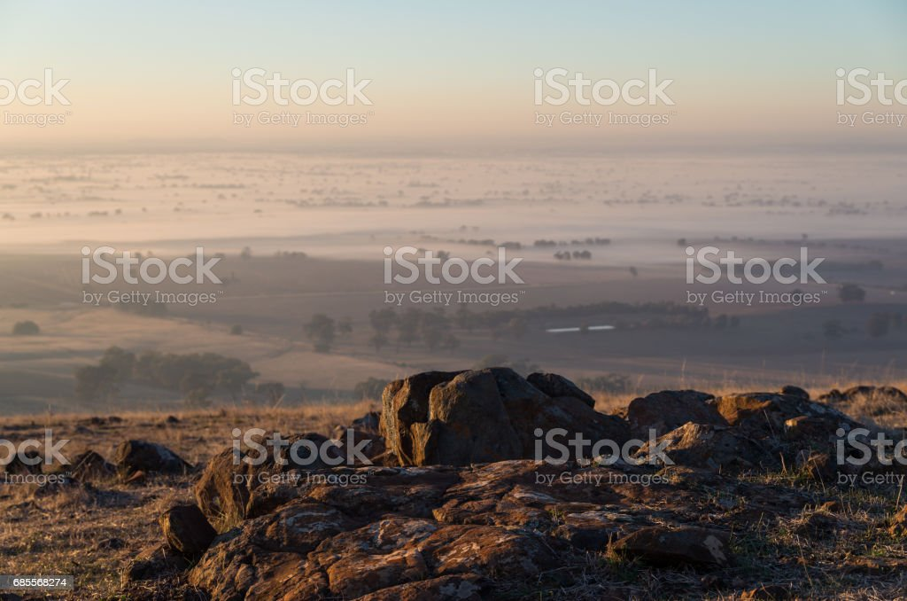 Early morning view from Mount Major at Dookie, Australia stock photo