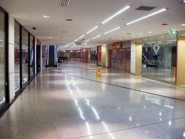 Early morning view of a interior shopping mall stock photo