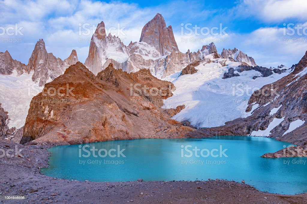 Early morning view of Fitz Roy mountain. stock photo