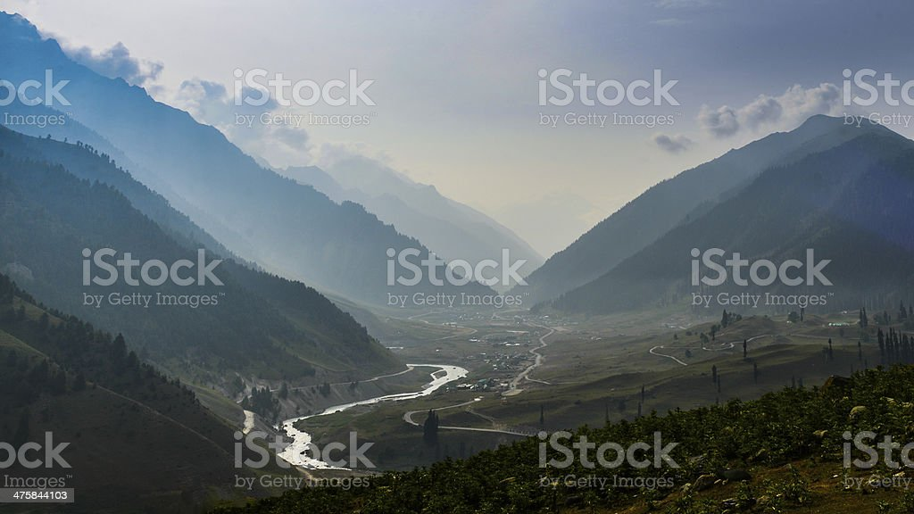 Early morning view of Sonamarg city stock photo